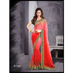 Kmozi Latest Fashion Saree, red