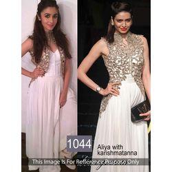 Kmozi Alia Bhatt Anarkali Suit, white