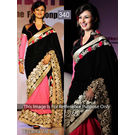 Kmozi Divyanka Life Style Designer Saree, black and pink