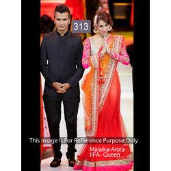 Kmozi Malika Crystal Queen Bollywood Lehenga, red and orange