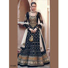 New Floor Touch Embroide Designer Anarkali Suit, black