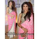 Kmozi Shilpa Villa Replica Saree, pink and white