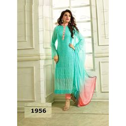 Kmozi Pure Chiffon Heavy Embroidery Work Dress Material, blue and peach