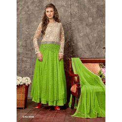 Kmozi Parrot Designer Anarkali Suits, green