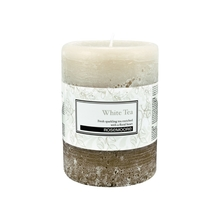 Rosemoore White Tea Scented Pillar Candle, White & Brown