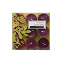 Rosemoore Bergamot & Geranium Scented Tea Lights, Green