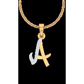 ALPHABET PENDANT (LJAP401), 18k, hi-vs/si, yellow rose white