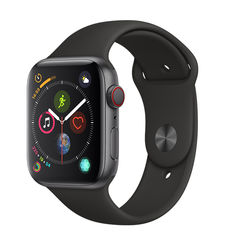 APPLE WATCH SERIES 4 GPS+ CELLULAR, 44MM SPACE GRAY ALUMINUM CASE WITH BLACK SPORT BAND
