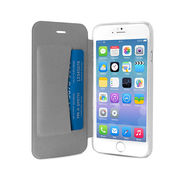 """PURO IPHONE 6 4.7"""" ECO-LEATHER COVER WITH HORIZ. FLIP+ CARD SLOT,  white"""