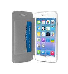 """PURO IPHONE 6 4.7"""" ECO-LEATHER COVER with horiz. flip+ CARD SLOT,  أبيض"""