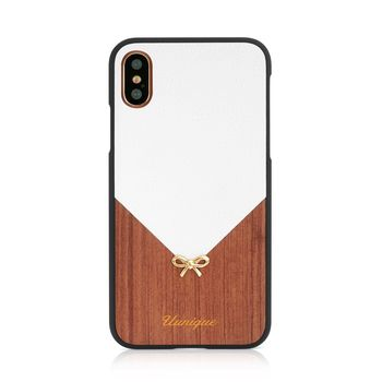 UUNIQUE IPHONE X BACK CASE HARD SHELL TIFF BOW ROSE WOOD,  white