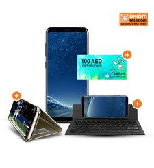 SAMSUNG GALAXY S8 PLUS 64GB+ ZAGG KEYBOARD+ CASE+ 100 SWITCH VOUCHER,  black