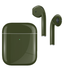 APPLE AIRPODS SECOND GEN WIRELESS PAINTED SPECIAL EDITION, gloss,  army green