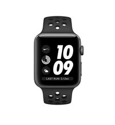 APPLE SERIES 3 SMART WATCH - NIKE 42MM SPACE GREY ALUMINUM CASE WITH ANTHRACITE/BLACK NIKE SPORT BAND, MQL42,  black