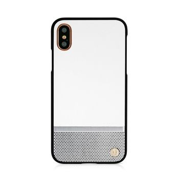 UUNIQUE IPHONE X BACK CASE HARD SHELL WHITE AND SILVER PERFORATION,  white