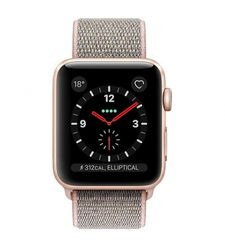 APPLE WATCH SERIES 3 42MM GPS CELLULAR GOLD ALUMINUM PINK SAND SPORT LOOP