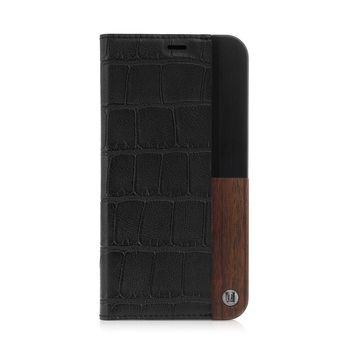 UUNIQUE IPHONE X BACK CASE FOLIO HARD SHELL LUXE CROC,  black