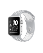 APPLE WATCH NIKE+ SERIES 2 SILVER ALUMINUM CASE WITH FLAT SILVER/WHITE NIKE SPORT BAND MNNT2AE/A