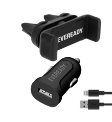 EVEREADY CAR KIT WITH SUCTION HOLDER WITH LIGHTNING BLACK