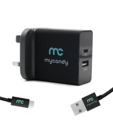 MYCANDY 3.4A DUAL USB TRAVEL CHARGER WITH 1M TYPE C CABLE BLACK