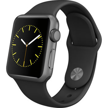 APPLE WATCH SERIES 1 38MM SPACE GRAY ALUMINUM CASE WITH BLACK SPORT BAND MJ2X2AE/A
