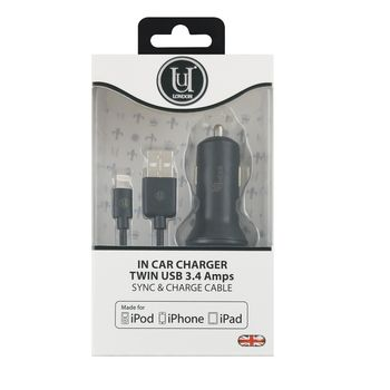 UUNIQUE MFI CAR CHARGER TWIN CABLE 3.4A BLACK