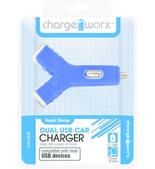 CHARGE WORX DUAL USB Y SHAPE CAR CHARGER,  blue
