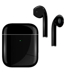 APPLE AIRPODS SECOND GEN WIRELESS PAINTED SPECIAL EDITION, gloss,  jet black