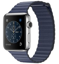 APPLE WATCH SERIES 2 42MM STAINLESS STEEL CASE WITH MIDNIGHT BLUE LEATHER LOOP MNPW2
