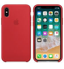 APPLE IPHONE X SILICONE BACK CASE,  red