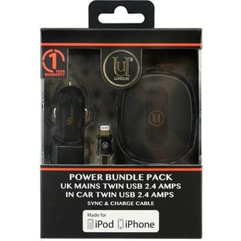 UUNIQUE MFI UK CAR CHARGER TWIN CABLE 2.4A BLACK