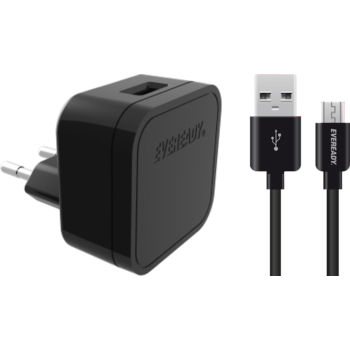 EVEREADY MICRO USB WALL CHARGER 2.4A BLACK