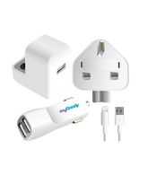 MYCANDY 3IN1 DUAL USB CC HOME CHARGER & USB DATA & SYNC CABLE FOR IPOD/IPHONE 5/IPAD MINI /IPAD4 HIC,  white