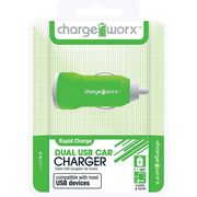 CHARGE WORX DUAL USB CAR CHARGER 2.1A,  green