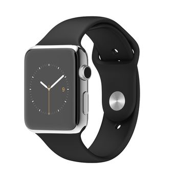 APPLE WATCH SERIES 1 42MM SPACE BLACK STAINLESS STEEL CASE WITH BLACK SPORT BAND MLC82AE/A,  black, 42 mm