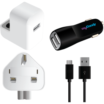 MYCANDY 3IN1 COMBO CHARGER WITH MICRO USB,  black