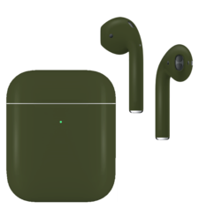 APPLE AIRPODS SECOND GEN WIRELESS PAINTED SPECIAL EDITION, matte,  army green