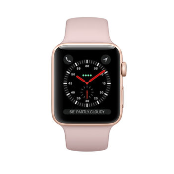 APPLE SMARTWATCH SERIES 3 38MM MQKH2 GOLD ALUMINIUM CASE WITH PINK SAND SPORT BAND - CELLULAR