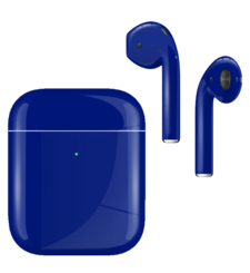 APPLE AIRPODS SECOND GEN WIRELESS PAINTED SPECIAL EDITION, gloss,  cobalt blue