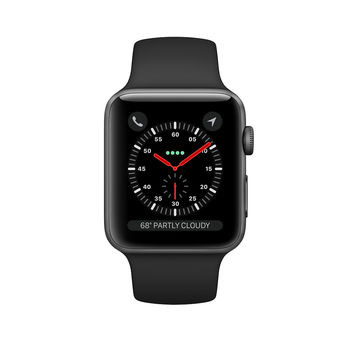 APPLE SMARTWATCH SERIES 3 38MM MQKG2 SPACE GREY ALUMINIUM WITH BLACK SPORT BAND - CELLULAR