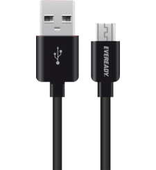 EVEREADY MICRO USB CABLE 1M BLACK,  أبيض