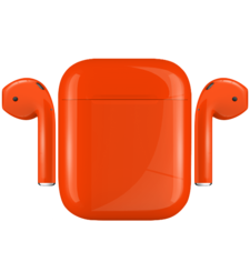 APPLE AIRPODS PAINTED SPECIAL EDITION,  neon pumpkin, gloss
