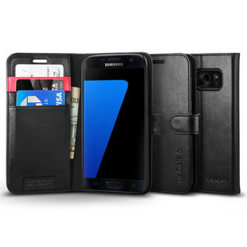 SPIGEN GALAXY S7 EDGE CASE WALLET S BLACK,  black