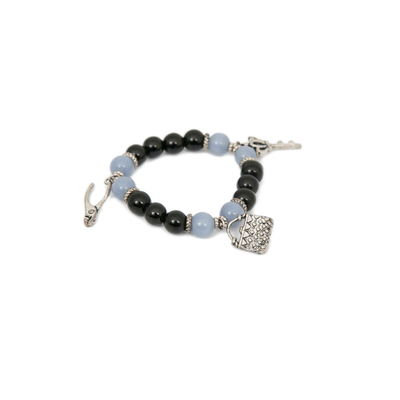 Black Harbour, black - blue, semiprecious stones with charms