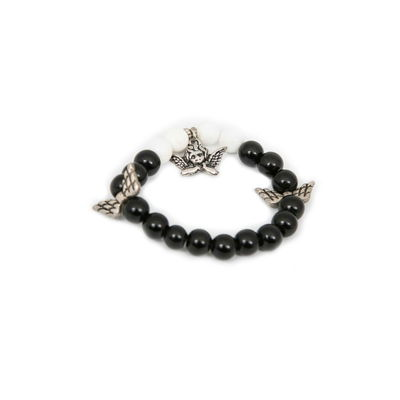 Fairy, black - white, semiprecious stones with charms