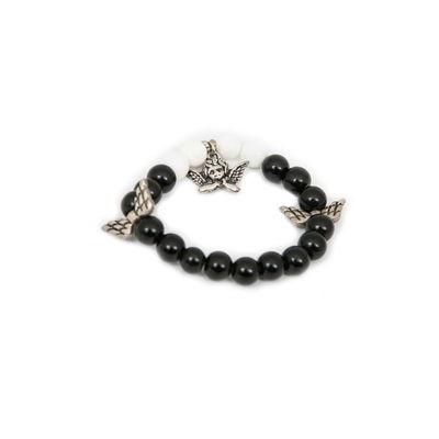 Fairy, black - white, semiprecious stones with charms