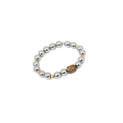 Buddha in Silver Lining, silver gold, silver beads with gold buddha