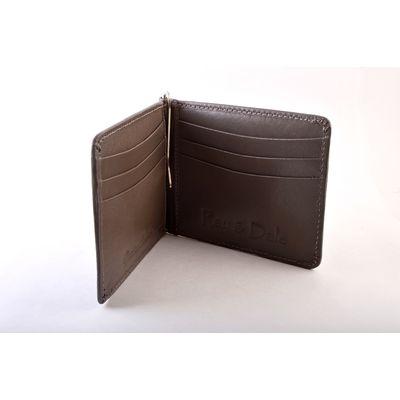 BROWN LEATHER MONEYCLIP/ CARD HOLDER, leather, brown