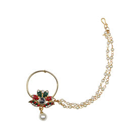 Pink Rose - Complement Collection Multicolour Stone Pearl Alloy Charm Single Strand Nose Ring For Women, 15, multicolour, alloy