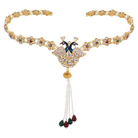Pink Rose - Complement Collection Multicolour Stone Pearl Alloy Mayur Charm Waistband For Women, adjuatable, multicolour, alloy